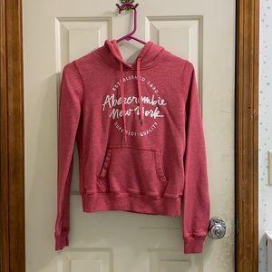 Red Abercrombie Hooded Sweatshirt
